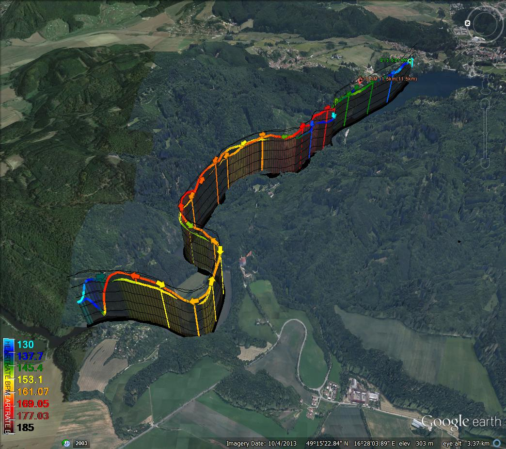 Google map trajectory with HR data