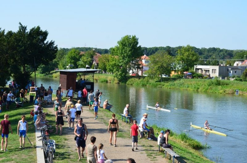 "Břeclav rowing club. Finish ""tower"" and final straight part of the course"