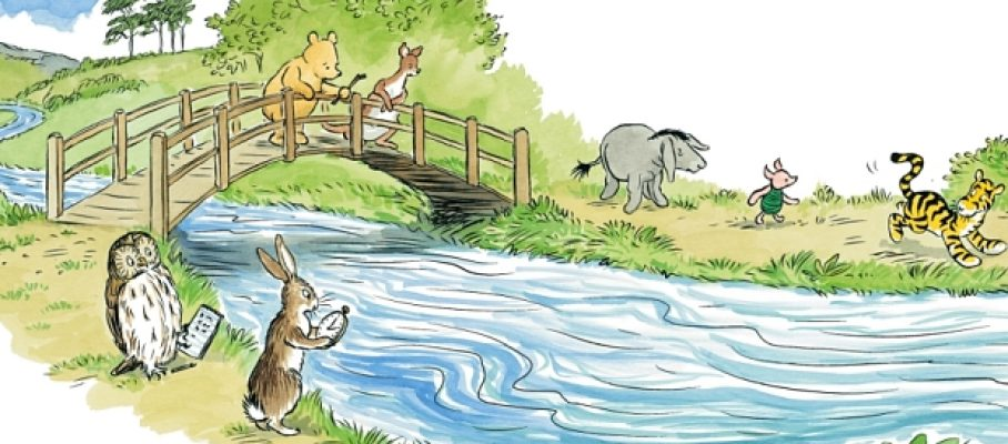 "Illustration from 'The Poohsticks Handbook: A Poohstickopedia' by Mark Evans (Egmont Publishing).  Illustrations by Mark Burgess after E H Shephard. Copyright 2015 Disney Enterprises Inc. Based on the ""Winnie-the-Pooh"" works by A.A. Milne and E.H. Shephard."