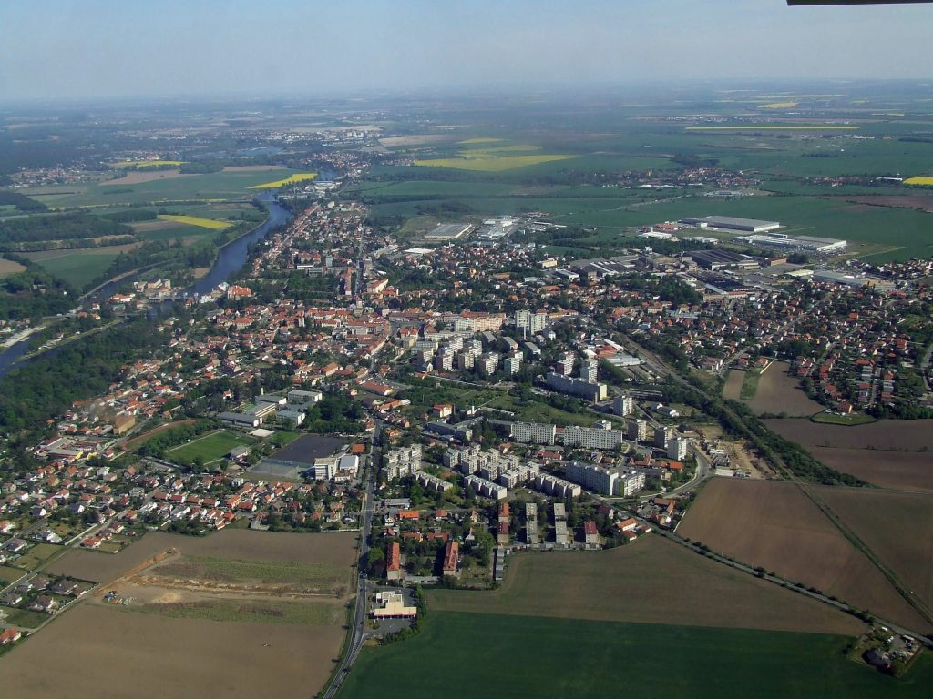 The joint towns of Brandýs nad Labem and Stará Boleslav. The island in the river Elbe is where the rowing club is located