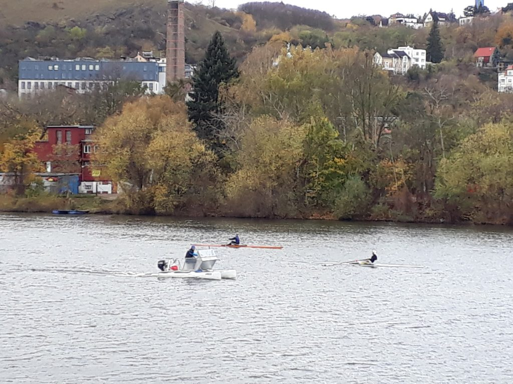 Single Sculls rowing on Vltava river